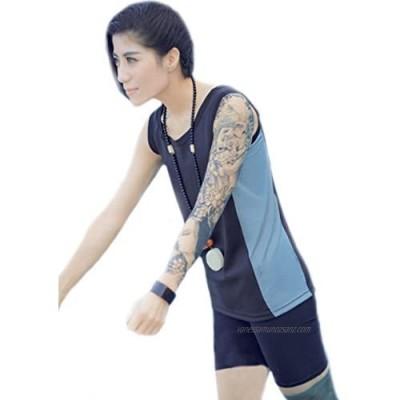 BaronHong Women Lesbian Tomboy Zip Up Chest Binder Quick-Drying Swimwear Vest Tank Top+Swimming Pants