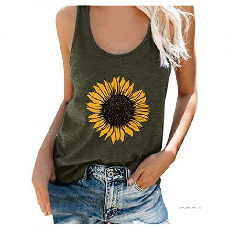BUKINIE Womens Plus Size Summer Sunflower Printed Sleeveless Graphic Tee Tank Tops Casual Vacation Vests Shirts Tops