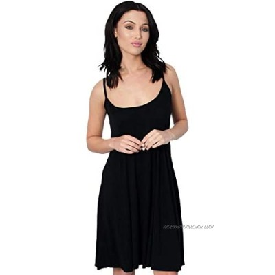 Candid Styles Womens Sleeveless Camisole Swing Dress Floaty Flared Strappy Vest Top 8-26
