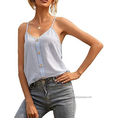 DUTUT Women Vest Sleeveless Summer Casual Camisole Spaghetti Strap Tank Tops with Button