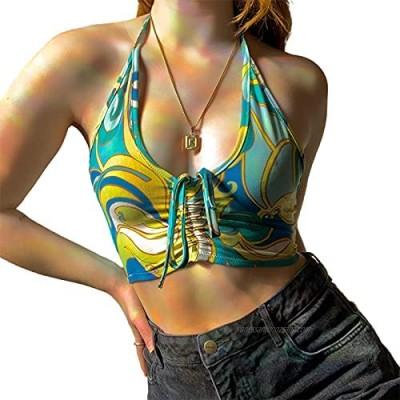 FeMereina Y2K Deep V Neck Halter Crop Tank Top for Women Tie Front Ruched Sleeveless Cami Vests 90s Streetwear