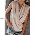 GOSOPIN Women Casual Wrap Drape Tank Tops V Neck Summer Sleeveless Blouses Solid Cami Tunic Shirt S-XXL