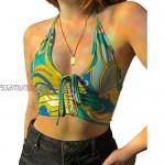 Loalirando Y2K Women's Deep V Neck Halter Backless Printed Y2K Tanks Top Striped Sleeveless Camis Vintage 90S Streetwear