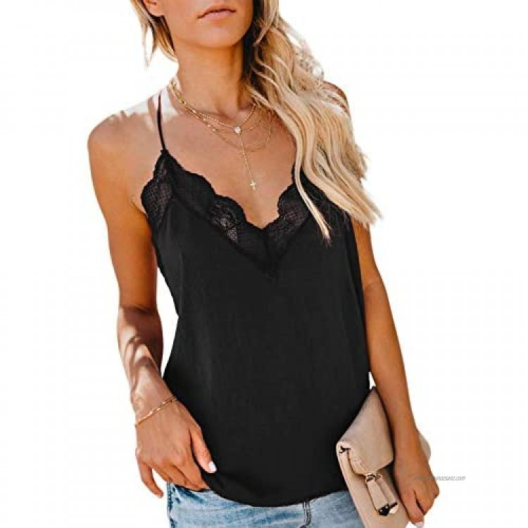 LOSRLY Womens Summer Casual Sleeveless Lace Crochet Vest V Neck Strappy Loose Cami Tank Blouse Shirts