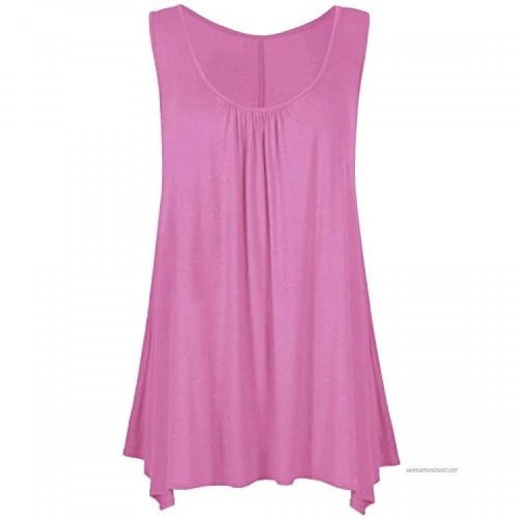 Mustwearit New Womens Ladies Hanky Hem Baggy Summer Casual Long Tunic Vest Top UK Size 8-26