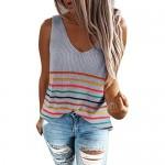 Ritera Women's Stripes Tank Tops Sexy V Neck Sleeveless Knit T-Shirts Loose Hollow Vest Blouse