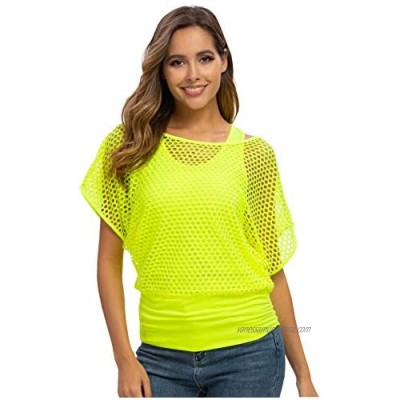 Smile Fish Womens 80s Fancy Dress Tops Two Pieces Neon Top Casual Ladies Retro Parties T Shirt Top