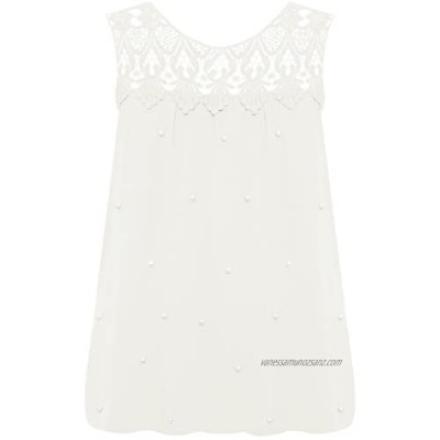 WearAll Women's Plus Sleeveless Pearl Jewel Chiffon Lined Vest Top New Ladies Blouse Lace 14-20