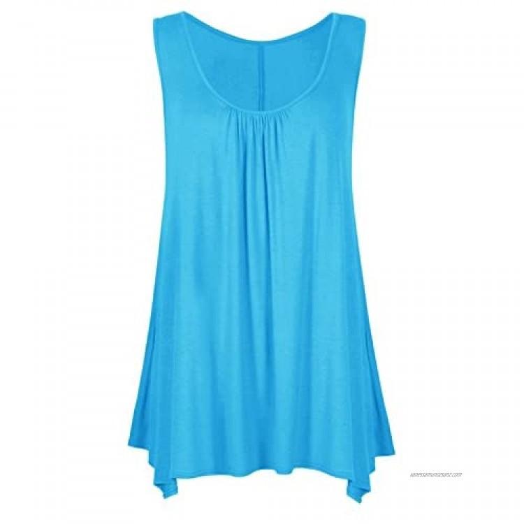 Women Loose Fit Ruched Hanky Hem Plain Jersey Tunic Blouse Sleeveless Flared Vest Swing Top Plus Sizes 8-26 UK