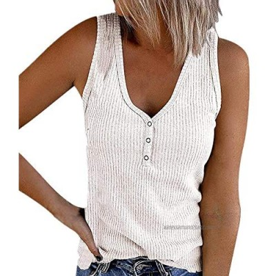 Women Sexy Ribbed Knit Tank Tops Buttons V Neck Sleeveless Solid Color Summer Vest