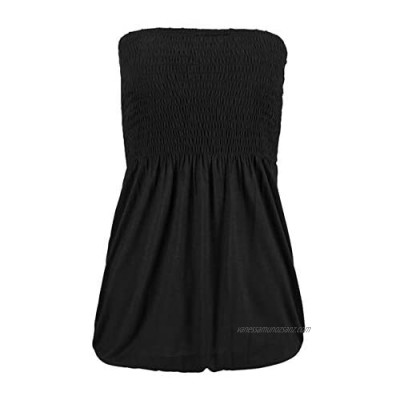 Womens Sexy Strapless Pleated Tube Top Summer Holiday Beach Vest Soft Stretch Shirt Tank Casual Slim Vest Blouse