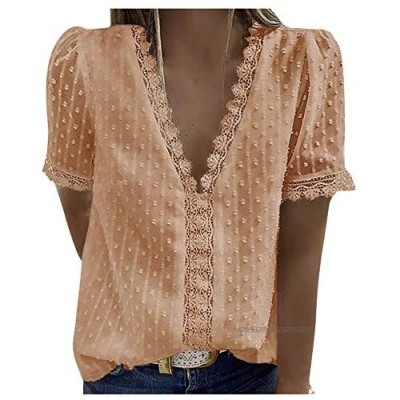 Womens Tops Blouse Lace Jacquard Deep V Neck Ruched Front T-Shirt Ladies Fashion Short Sleeve Solid Color Casual Loose Shirt Tee