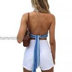 YCYU Women's Y2K Striped Halter Crop Cami Top Sexy Deep V-Neck Knit Backless Tie Back Crop Cami Top