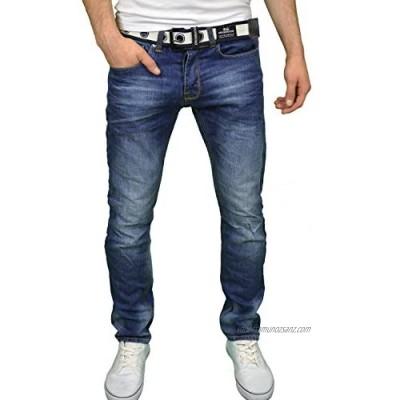 "Crosshatch Mens Regular Fit Straight Leg Belted Jeans Sizes 30""-46"""