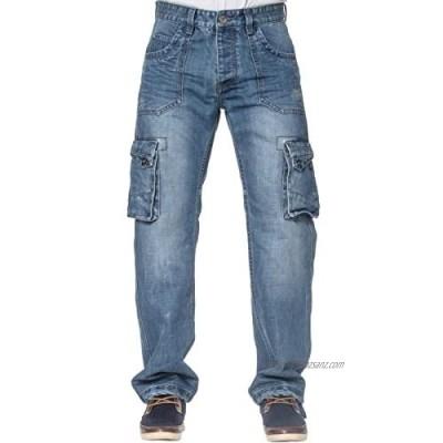 Eto Mens Cargo Combat Jeans EM570 in Blue Stonewash Colour