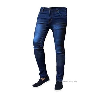 Mad Ink Mens Denim Super Stretch Skinny Slim FIT Jeans All Waist & Leg Sizes (32W X 32L Dark Blue)
