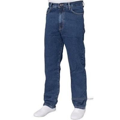 Mens Straight Leg Basic Heavy Work Jeans Denim Pants All Waist Big Sizes Stone Wash 40 W X28L
