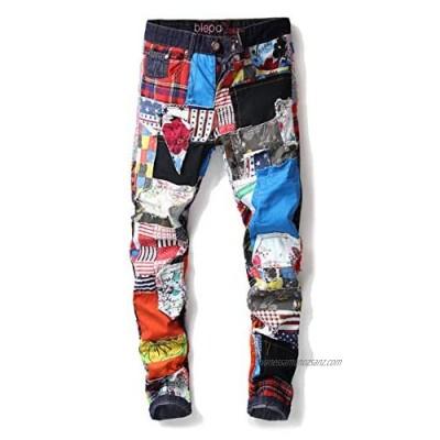 N\Y Mens Spring Autumn miexed Colour Hole Patch Denim Jeans Pants Trousers