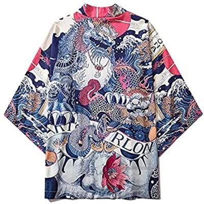ANXWA Haori Jacket Men,Kimono cardigan men Japanese male yukata men's haori Japanese samurai clothing traditional Japanese clothing PhotoColor-XXLarge