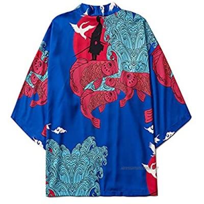 ANXWA Traditional Kimono ,Men Japanese Short Sleeve Kimono Cardigan Coat Loose Jacket Top Blue-XXLarge