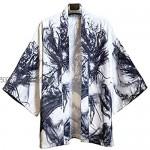 ANXWA Traditional Kimono ,Men Japanese Short-Sleeved Kimono Cardigan Yukat Coat Loose Cardigan Jacket Top D-XXLarge