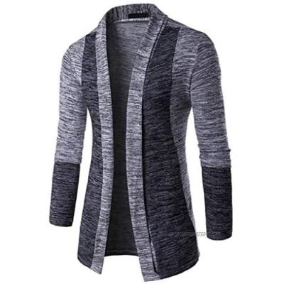 Cardigan Mens Kolylong Mens Vintage Cardigan Long Autumn Unique Winter Warm Slim Fit Knitted Sweater Men Jacket Coat Open Long Cardigan Sweatshirt Outwear Knitwear (Color : Gray One Size : L)