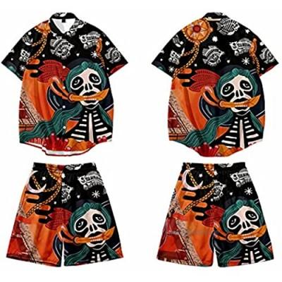 CHUIKUAJ Men's Short Sleeve Shirt Beach Pants 2-Piece Set Casual Kimono Cardigan Plus Size Skull Print Men Tees Black-4XL