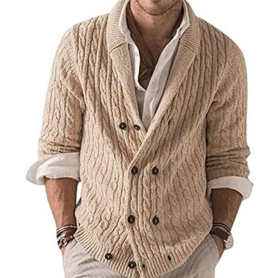 Men's Long Sleeve Knit Sweater Shawl Collar Button Front Cardigan Coat