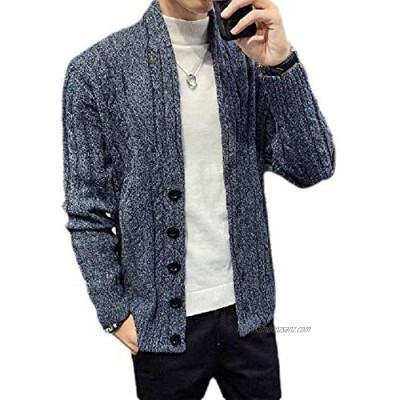 Mens Winter Thicken Cable Knitted Shawl Collar Button Down Open Front Cardigan Coat