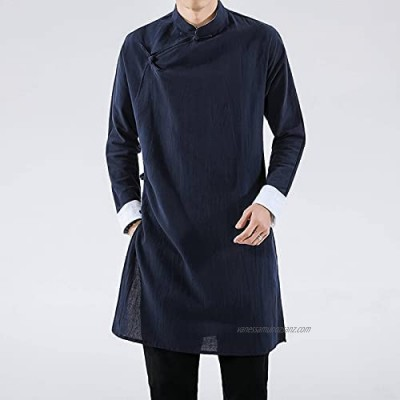 N\C LZN Men's Open Kimono Cardigan Casual Cotton Linen Shirt Chinese Hanfu Style Windbreaker