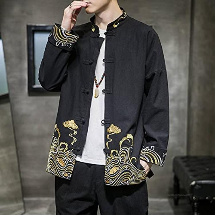 N C PRIJUHE Men's Kimono Jacket Cardigan Casual Cotton Blended Linen Three-quarter Sleeve Front Cardigan Embroidered Coat
