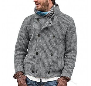 VerOut Men's Knit Cardigan Thick Coat Knitted Jacket Double-row Button Knit Sweater Coat Jacket Gray XXL