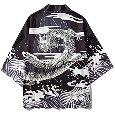 WYUKN Haori Jacket Men, Japanese Kimono Cardigan Men New Haori Samurai Kimonos Karate Streetwear Shirt Kimono Japones Mens Haori Yukata Black-XXLarge