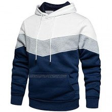 LBL Men's Contrast Color Hoodies Comfort Casual Pullover Sports Outwear Sweater with Kanga Pocket