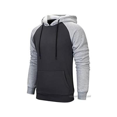 MANLUODANNI Men's Pullover Hoodies Hooded Sweatshirt Patchwork Top Casual Hoody with Kanga Pocket