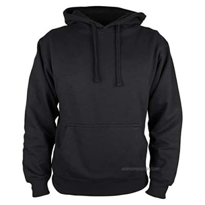 Martes Clothing | Mens Plain long sleeve Hoodie Fleece Pull-Over | Soft and comfy Adult Top Sweatshirt Hoodies | Work and longe wear | Non-zip Up | Uni-Sex | 80% Cotton 20% Polyester (Black)