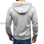 Men Hooded Pullover Full Zip Hoodie Solid Color Sweatshirt Casual Hoody Long Sleeve Top with Pocket