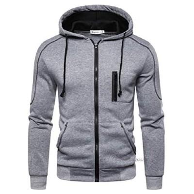Mens Workwear Flexible Hoodies Comfortable Soft Hoody Casual Long Sleeves Sweatshirt Top with Zip