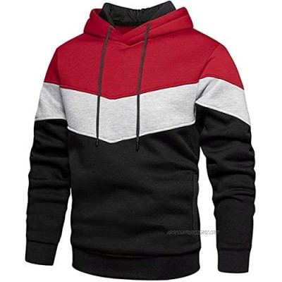 Rave on Friday Unisex Hoodie Patchwork Fleece Pullover Long Sleeve Color Block Sweatshirt Breathable Sport Outwear Hoody Casual Tops with Kanga Pocket and Drawstring for Mens Women M-XXL
