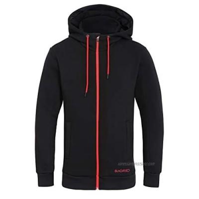 Sundried Men's Warm Thick Zip Up Black Hoodie Best Sweatshirt for Winter Outdoor Training