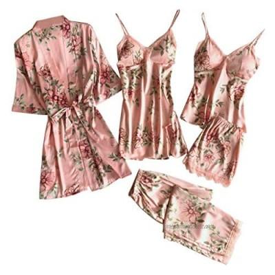 iHAZA Pajama Sets Women Sexy Lace Lingerie Nightwear Underwear Babydoll Sleepwear Dress 5PC