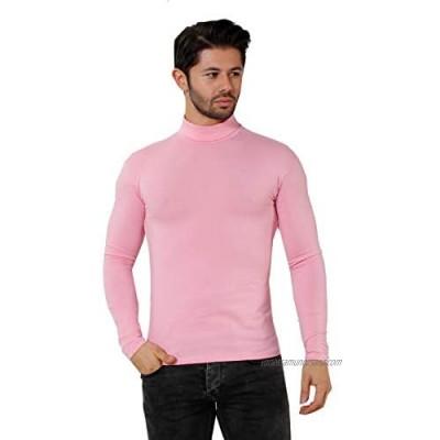 elegance1234 Men's ROLL Neck Tops Medium Pale Pink