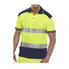 B Seen Hi Vis Viz Polo Shirts Short Sleeves Two Tone High Visibility Safety Security Work Wear Breathable Top