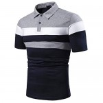 Buetory Men's Short Sleeve Polo Shirts Casual Slim Fit Contrast Color Patchwork Jersey Polo Golf Cotton Shirt Tops Plus Size
