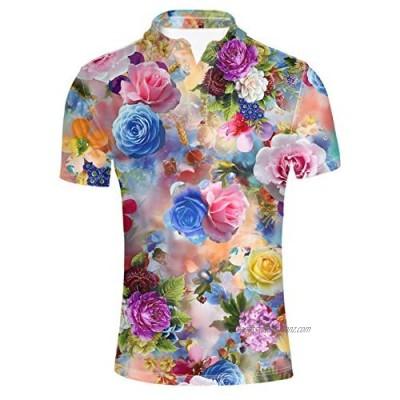 HUGS IDEA Floral Patern Men's Golf Sport Shirt Fashin Hawaiian Short Sleeves Summer Button Down T-Shirts