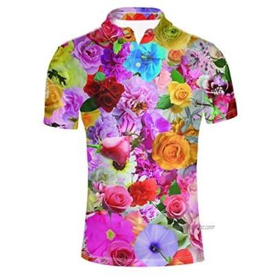 HUGS IDEA Modern Men's Big & Tall Pique Sport Shirt Floral Print Hawaiian Summer Short Sleeve 3 Button Classic Sportshirt