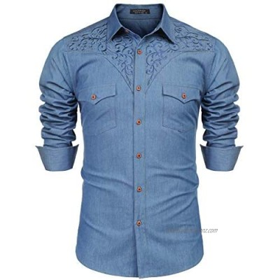 COOFANDY Mens Cowboy Shirts Long Sleeve Casual Regular Fit Denim Shirt Floral Embroidery Button Down Western Shirts