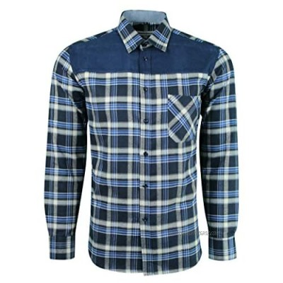 Dominic Stefano Mens Smart Casual Check Shirt Double Pocket Imitation Dress Shirt Lumber American Style Easy to Iron Best for Wedding & Evening Party Shirt 448
