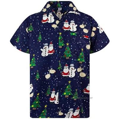 Hawaiian Shirt for Men Funky Casual Button Down Very Loud Shortsleeve Unisex X-Mas Christmas Music Gingerbread Santa Print