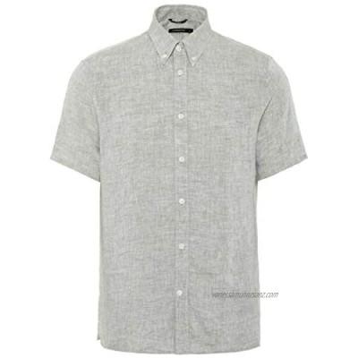J.Lindeberg Men's Short Sleeve Linen Melange Shirt